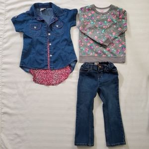 Girl's Kids 4T Denim Top, Sweater and Jeans